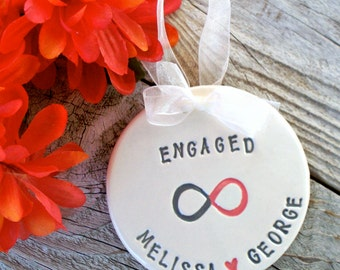 Personalized Engagement Gift Ornament with Two-Toned Infinity Symbol - Personalized with Couples Names and Engagement Date