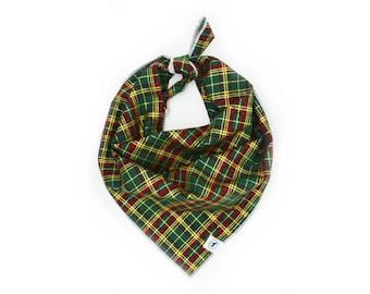 Green Tartan Christmas Traditional Tie on Dog Bandana / Scarf