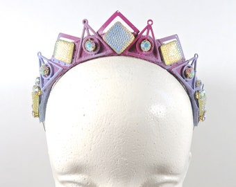 Geometric Rainbow Gem Crown - Lisa Frank Inspired Series - by Loschy Designs