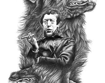 EGO, Print - Graphite Pencil on Paper, Debonair man between two symmetrical gnarling wolves