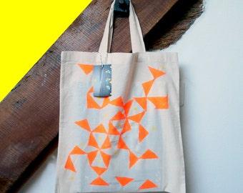 Bag Tote Bag ethnic orange fluo and yellow.