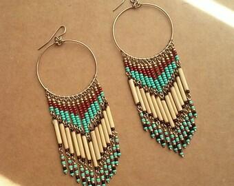 Boho Earrings, Chandelier Earrings, Turquoise Bead Earrings, Native American Inspired Earrings, Southwest Earrings, Hoop Chandelier Earrings