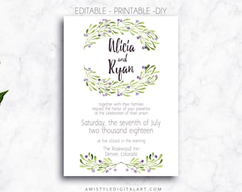 Printable Wedding Invitation,Olive, DIY Wedding Template, Printable, Wedding Invitations,Editable PDF,Watercolor Wedding,DIY Invitation, pdf