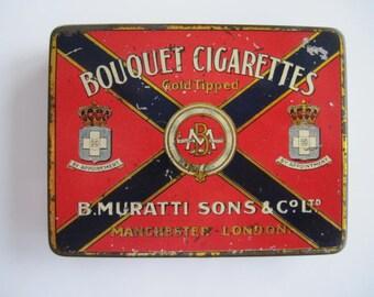 Bouquet Gold Tipped Cigarette tin (20/empty) by B. Muratti Sons & co Ltd c.1928