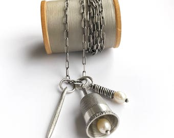 Sterling Silver Vintage Thimble Bell Thimbell Pearl Needle Charm Necklace Long Oblong Cable Chain 40 Inch Upcycled