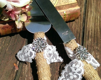 rustic wedding cake knife burlap and lace wedding cake cutting serving set (K109)