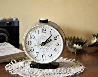 Teacher Gift - Beige Clock - Wind Up Clock - Bedroom Clock - Soviet Clock - Vintage Alarm Clock - Table Clock - Mechanical Clock