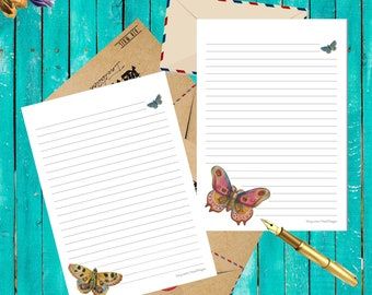Printable paper for letter writing, Butterflies, A4, A5 ruled, snailmail, penpals, journaling, notes, scrapbook, diital instant download