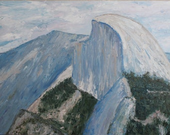 Original Oil Painting Landscape HALF DOME Yosemite Valley Mountain American National Parks America the Beautiful Hand Painted USA Made