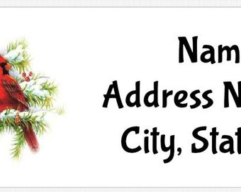Christmas Winter Cardinals Personalized Return Address Labels Buy 3 Get 1 Free
