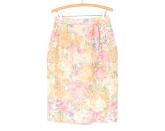 vintage pencil skirt * pastel floral skirt * 80s skirt * moiré skirt * wiggle skirt * large