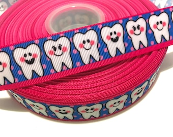 "1"" Teeth Ribbon, Teeth Grosgrain Ribbon, Dental Ribbon, Dental Grosgrain Ribbon, Tooth Ribbon, Tooth Printed Ribbon, Tooth Grosgrain Ribbon"