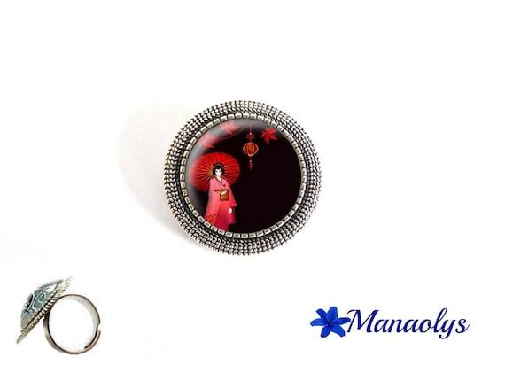 ring adjustable round antique silver, Japanese woman, Geisha, kimono, 208 glass cabochons