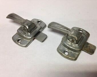 2 Antique Vintage Primitive hoosier cabinet latch lock parts