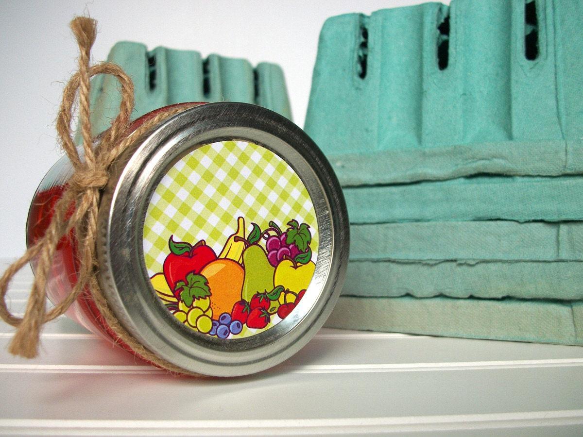 Fruta grande canning jar etiquetas alrededor de etiquetas