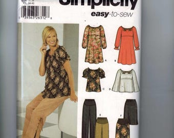 Misses Sewing Pattern Simplicity 5756 Maternity Easy High Waisted Dress Top Pants Skirt Peasant Size 6 8 10 12 Bust 30 31 32 34 UNCUT  99
