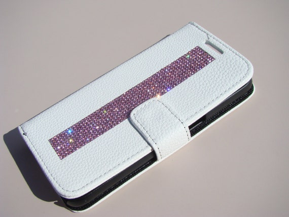 Galaxy S7 Wallet Case Pink Diamond Crystals on White Wallet Case. Velvet/Silk Pouch bag Included, Genuine Rangsee Crystal Cases.