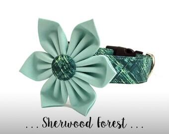 Green Teal Mint Dog Collar Flower Set; Dog Flower and Collar: Sherwood Forest