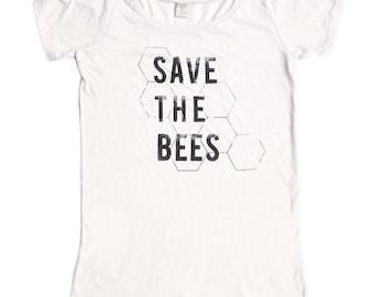 Womens Scoop Neck - Save the Bees Shirt - Organic shirt - S M L XL- Clothing -Tshirt - bug