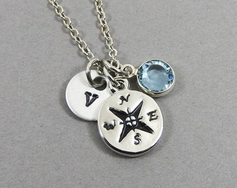 Compass Necklace - Long distance, direction, navigation, Personalized Handstamped Initial Name, Swarovski birthstone