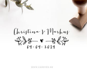 Wedding stamp with names & date • Custom wood stamp • Wedding logo • DIY wedding • Wood stamp which a handle