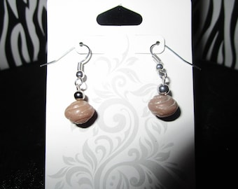 Dark Tan & Silver Earrings