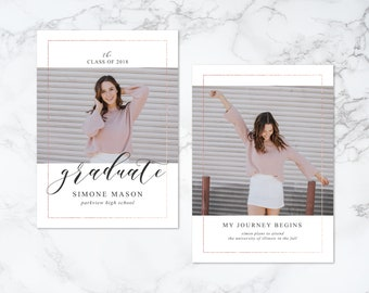 Printable Double Sided Modern Rose Gold Faux Foil Border Photo Card Graduation Invitation or Announcement