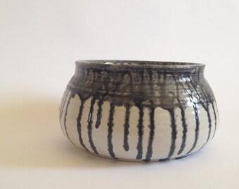 Ceramic vessel. hand thrown bowl. black serving bowl. vegetable dish.