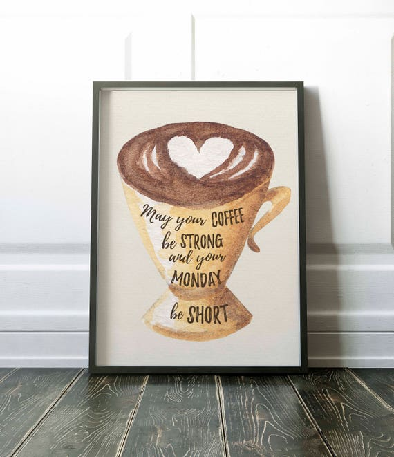 Free Printable Coffee Quotes: Coffee Printable Art Print Coffee Quote Instant Download