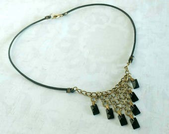 Faceted Black Rectangle Swarovski Crystals Chainmaille on Antiqued Gold Plated Brass Rings on Black Waxed Cotton Cord