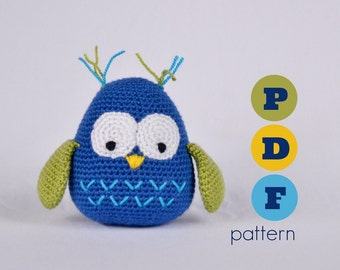 PDF Amigurumi large owl pattern. Instant download file.