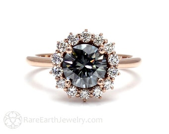 Gray Moissanite Engagement Ring Dark Grey Round Cluster Conflict Free Diamond Halo 14K or 18K Gold or Platinum Vintage Style