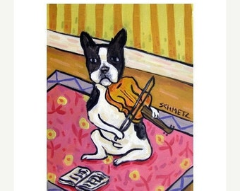 25% off Boston Terrier Playing the Violin Dog Art Print