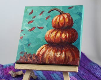 "Tiny Original Stacked Pumpkins Autumn Acrylic Painting 4""X 4"""