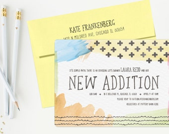 Watercolor Math & Addition Baby Shower Invitation, Baby Shower Invite Template - Unisex, Math, Subtraction, Teacher - Printable or Printed
