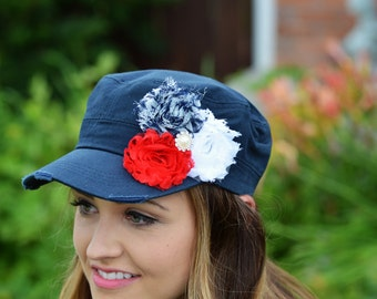 Navy hat, Womens cadet hat, baseball cap, 4th of July hat, Millitary hat, distressed hat, flower hat, gift for mother, red white and blue