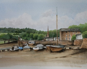 Boats in Kirkcudbright Harbour, Scotland - Original Watercolour Painting - Seascape - Coastal - Sailing - -Landscapes - Fine Art