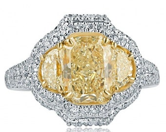 Radiant Cut Diamond Engagement Ring, Exquisite Collection,  3.25 TCW, Natural Fancy Yellow Radiant With Side Half Moon Diamond Ring, 18k