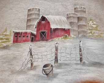 Winter Barn with Silos on Heathered Ash Gray Sweatshirt