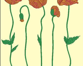 poppies - Machine Embroidery designs set
