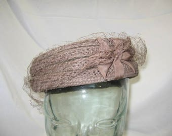 Brown Everitt Woven Pill Box Hat with Bow and netting - Circa 1950's