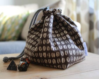 Coffee Beans Drawstring Dice Bag - For Tabletop Gamers, Roleplayers, Dungeons and Dragons, Scrabble, Carcassonne & more