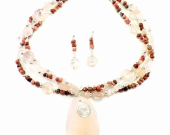 Necklace and Earring Set - Rose Quartz and Rhodonite Triple Strand Necklace With Matching Earrings