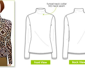 Debra Zebra Top - Sizes 14, 16, 18 - Women's Funnel Neck Top PDF Sewing Pattern by Style Arc - Sewing Project - Digital Pattern