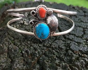 Handmade, vintage, silver bracelet with turquoise and coral stones