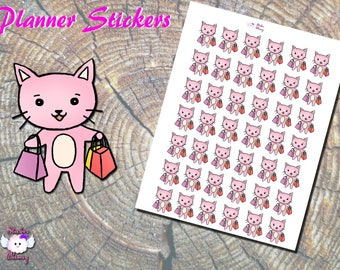 Mall Shopping Planner Stickers, Shopping Bag Stickers, Stickers, Pink Cat, Kawaii Stickers, Cute Stickers, Paper Stick