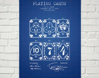 1892 Playing Cards Patent Wall Art Poster, Home Decor, Gift Idea