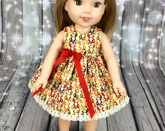 14.5 inch doll clothes fits Wellie Wishers doll clothes. Monkey dress for Wellie Wisher