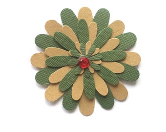 Hand Punched Paper Flowers, Green and Gold with Red Centers, Scrapbook Layout Embellishment, Card Making Supplies, Paper Crafting Flowers