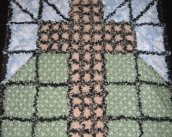 Old Ragged Cross Rag Quilt Mailed Paper Pattern by Sew Practical, Mom and Pop Craft